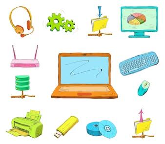 Ícones de computador de negócios configurados