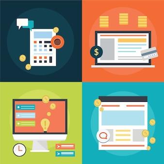 Ícones de conceito de design plano para web
