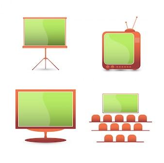 Ícones de cores do conjunto de vetores. monitor de tv