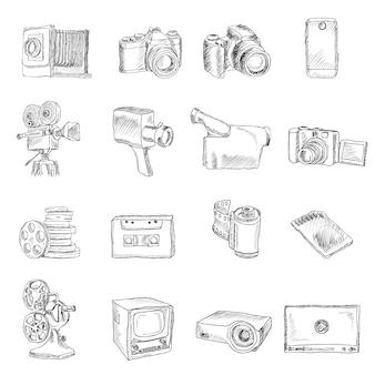 Ícones de doodle de vídeo fotográfico