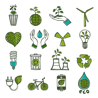 Ícones de ecologia e resíduos configurados cor