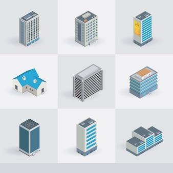 Ícones de edifícios vetoriais isométricos