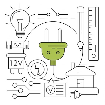 Ícones de Energia Linear Elementos Ambientais Mínimos