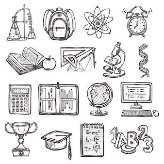 Ícones de esboço da educação escolar