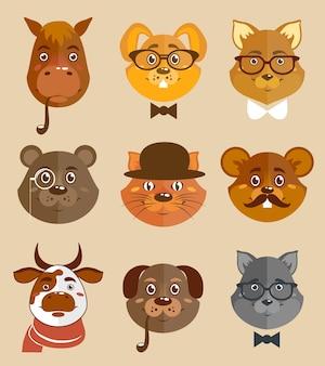 Ícones de hipsters de animais decorativos, conjunto de cães de gato e cachorro de cachorro, em chapéus e gravata de laços, ilustração vetorial.