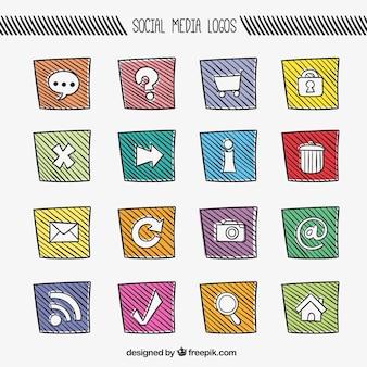 Ícones de mídia social coloridas em estilo esboçado