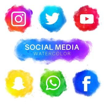 Ícones de mídia social com design de aguarela