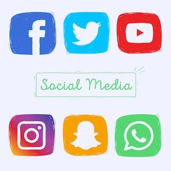 Ícones de mídia social desenhados a mão