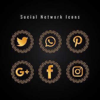 Ícones de mídia social dourados configurados