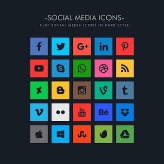 Ícones de mídia social em estilo tema escuro