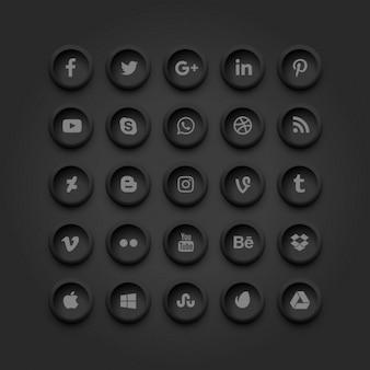 Ícones de mídia social escuras