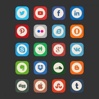 Ícones de mídia social vintage