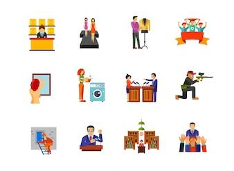 Ícones de pessoas que trabalham