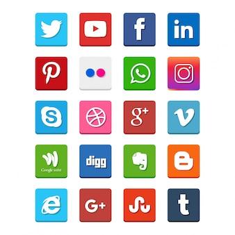 Ícones de redes sociais populares, tais como: Facebook, Twitter, Blogger, Linkedin, Tumblr, Myspace e outros, impressos em papel branco