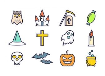 Ícones de vetor de contorno configurados para Halloween.