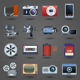 Ícones de vídeo de fotos configurados