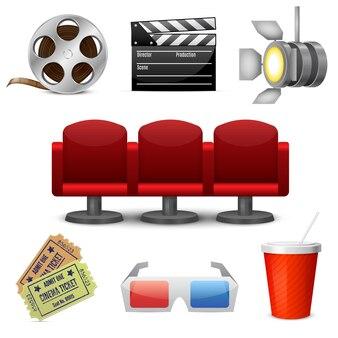 Ícones decorativos de entretenimento cinematográfico