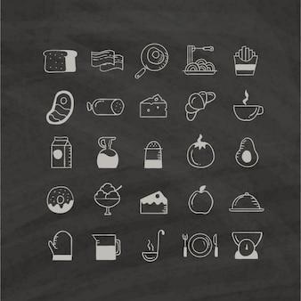 Ícones do alimento desenhados mão
