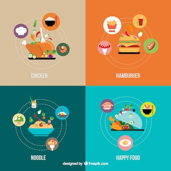 Ícones do alimento infográfico
