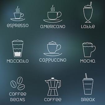 ícones do café delineadas