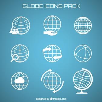 Ícones do globo embalar