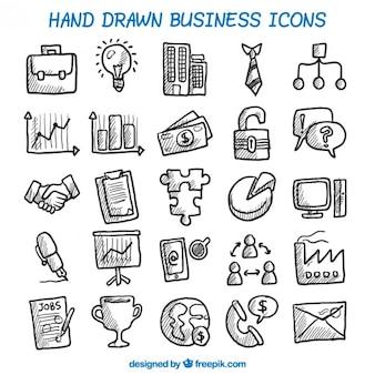 Ícones do negócio desenhados mão