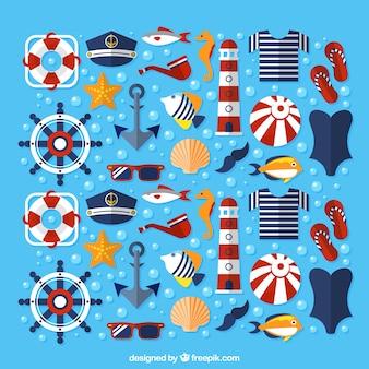 Ícones do verão em estilo náutico