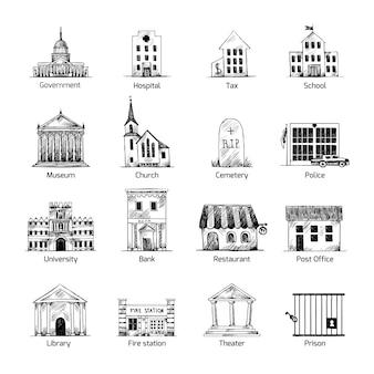 Ícones dos edifícios coleção