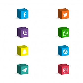 Ícones dos media 3D Sociais