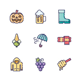 Ícones e objetos de outono em estilo de contorno colorido