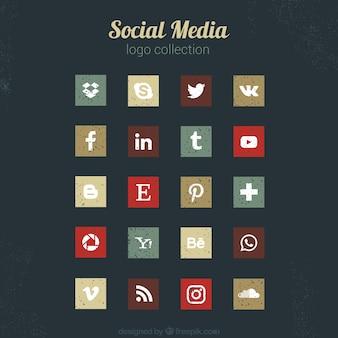 Ícones elegantes do vintage de mídia social