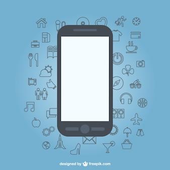 ícones esboço design plano de telefonia móvel