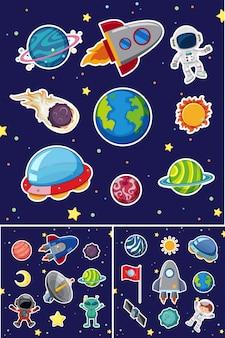 Ícones espaciais com foguetes e planetas