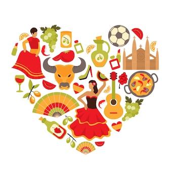 ícones espanhóis projeto do fundo