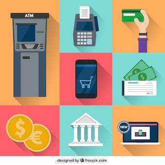 Ícones financeiros coloridos