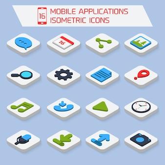 Ícones isométricos de aplicações móveis
