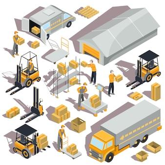 Ícones isométricos de logistica de vetor e entrega