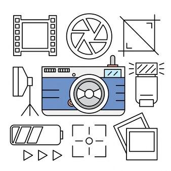 Ícones lineares de câmera e fotografia