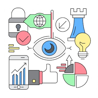 Ícones lineares de negócios de visão de inicialização