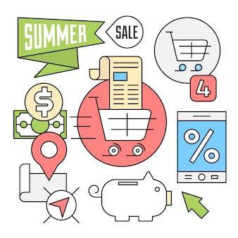 Ícones lineares de venda de verão