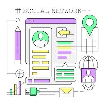 Ícones lineares sobre redes sociais