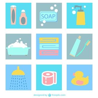 ícones lisos banheiro embalar