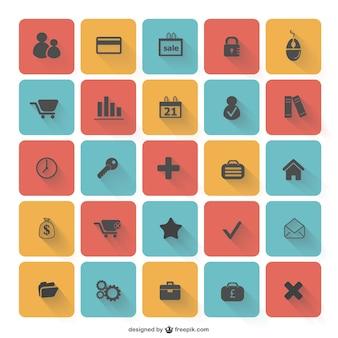 ícones lisos coleção vector
