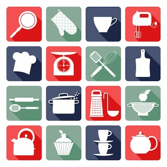 ícones lisos cozinha