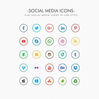 ícones mínimas de mídia social embalar