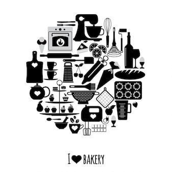 ícones padaria Jogo de elementos do vetor para seu projeto
