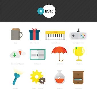 Ícones planos para design de UI