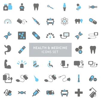 ícones preto e Saúde Azul Definir