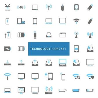 ícones preto e Tecnologia azul ajustou