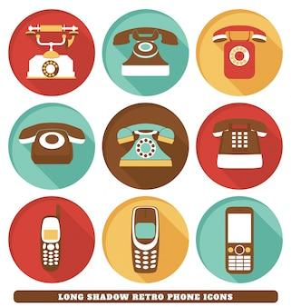Ícones retros do telefone